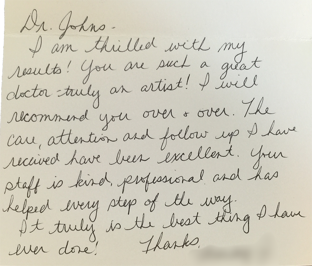 Testimonials dr francis johns artisan plastic surgery i wanted to thank you for the wonderful job you did you are a very caring professional doctor and human being i am honored to have met you spiritdancerdesigns Choice Image